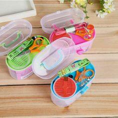 Милые Швейный набор Нить Нитевдеватель Иглы Ленты Коробка Для Хранения Измерения Scissor Наперсток