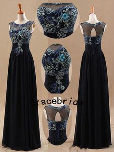 2014 latest dark navy chiffon dresses with embroidered peacock featherlong unique custom prom dress for wedding party hot homecoming dress on Etsy, $168.00
