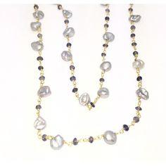 "Fronay Co, Mini Keshi Pearls & Quartz Necklace, 42"""