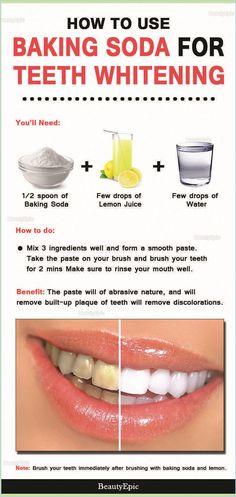 Teeth Whitening Remedies, Teeth Whitening System, Natural Teeth Whitening, Whitening Kit, Homemade Teeth Whitening, Baking Soda Lemon Juice, Baking Soda Teeth, Uses For Baking Soda, Healthy Skin Tips