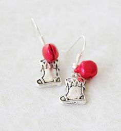 Christmas Stocking Earrings with Red Jingle Bells Silver Holiday Stocking Earrings Stocking Stuffer Jewelry Christmas Gift Teacher Gift by SmittenKittenKendall on Etsy