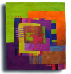 """Red Pony Hand dyed cotton and silk, fused, hand and machine quilted. 16x18.25"""" $250"""