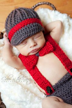 Newborn Crochet Newsboy Hat with matching Suspender, Diaper Cover and Bow Tie Set - Photo Prop