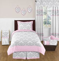 Pink Grey and White Damask Twin Size Bed Bedding Comforter Set for Girls Bedroom | eBay