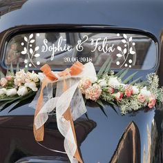 Floral Customised Name Date Stickers DIY Wedding Car Decor Vinyl Decal personalised Bride Groom Names With Wedding Date LC777 - affordable home livingroom farmhouse decoration ideas