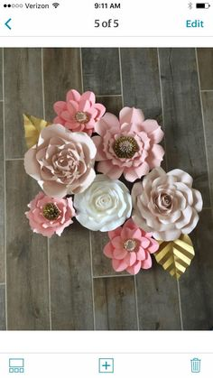 Custom for Blush light pink white and gold How To Make Paper Flowers, Large Paper Flowers, First Birthday Parties, First Birthdays, Gold Paper, Different Flowers, Touch Of Gold, Flower Making, Bridal Shower