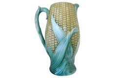 Antique Majolica Corn   Jug, 1880