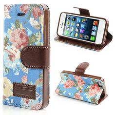 Köp Mobilplånbok iPhone 5/5S/SE Flowers blå/brun online: http://www.phonelife.se/mobilplanbok-iphone-5-5s-se-flowers-bla-brun
