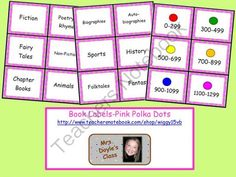 Book Labels-Pink Polka Dots from Bre Doyle on TeachersNotebook.com -  (3 pages)  - Book labels for your classroom library with a pink background and green polka dots.  Topics include: Fiction, Poetry & Rhymes, Fairy Tales, Non-Fiction, Chapter Books, Animals, Biographies, Autobiog