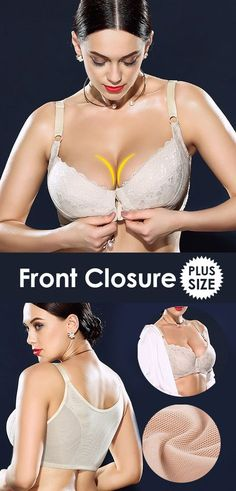 H Cup Front Closure Gather Embroidery Plus Size Push Up Thin Bra  plussize   wireless 96c83e646d