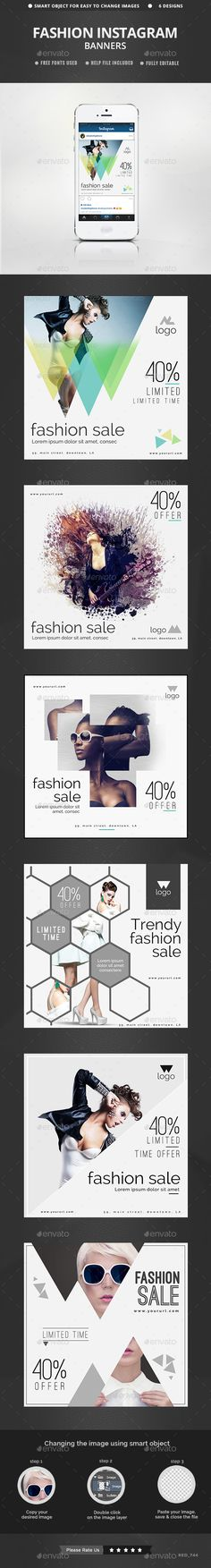 Fashion Instagram Templates - 6 Designs PSD #design #ads Download: http://graphicriver.net/item/fashion-instagram-templates-6-designs/13240525?ref=ksioks