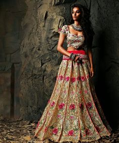 #Designer Lehenga Choli#Beige & Red #Indian Wear#Desi Fashion #Natasha Couture #Indian Ethnic Wear #Bridal Wear #Wedding Wear
