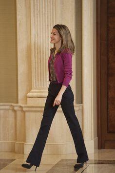 Princess Letizia of Spain.  ~ Basic daytime look ... Trousers,silk shirt, cashmere cardigan, and fabulous posture ...