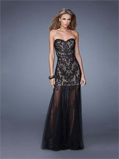 Sheath/Column Sweetheart Lace Tulle Low Back Chiffon Long Prom Dress PD11900