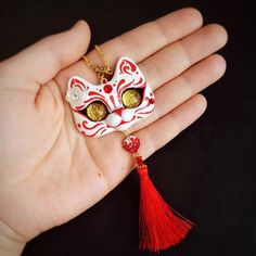 Kitsune Cat Mask Inspired Japanese Style OOAK Kitty Cat Necklace Polymer Clay Pendant by FleurDeLapin
