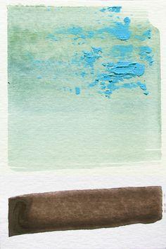 "Winter Abstract Watercolor Art, blue, brown-- ""Painting 598"" by Lauren Adams Art"