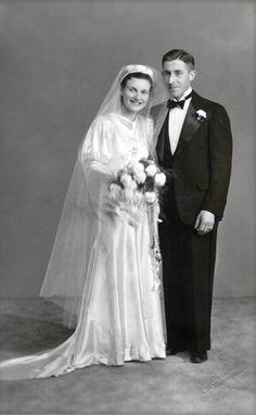 Vintage Photo..Happy Bride and Groom 1940's, Original Photo, Old Photo Snapshot…
