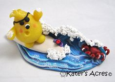 Surfing COWABUNGA Parker  Polymer Clay Storybook by KatersAcres