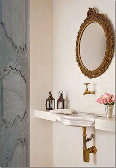 Pamela Pierce/bathroom/stone sink/antique/White/Scandinavian/Swedish/Stockholm/ethereal/ shabby chic/romantic/timeless/ tranquil/European/inspiring/decorating idea from Hello Lovely Studio