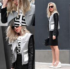 "Sheinside Grey Contrast Pu Leather Sleeve Crop Coat, Zara Pencil Skirt, Mango White Wedges, Zara Lunch Bag, H&M Cat Eye Sunglasses, Romwe ""Giyongchy Logo"" White Vest"