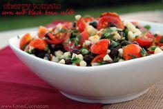 Cherry Tomato, Corn and Black Bean Salad - Katies Cucina Entree Recipes, Side Dish Recipes, Salad Recipes, Healthy Recipes, Skinny Recipes, Veggie Recipes, Chicken Taco Recipes, Potato Recipes, Food Program