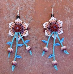 Floral Flower dangle Seed Beaded Earrings by MiCasitaDeChaquira