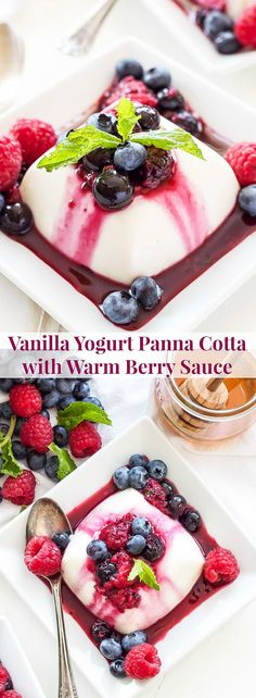 Vanilla Yogurt Panna Cotta with Warm Berry Sauce | All the creamy rich flavor that you expect from traditional panna cotta, but healthy enough to serve for breakfast!