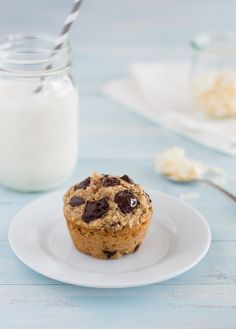 Healthy Banana Coconut Chocolate Chunk Muffins {GF, Dairy-Free Option, No Added Sugar} - tender and chocolate-filled muffins that are natura...