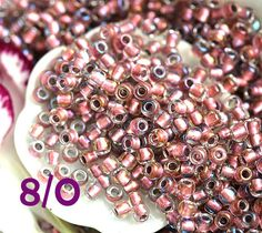 Pink Seed beads, Toho seeds, size 8/0, Inside color Crystal - Rose Gold Lined, N 267 - 10g - S655 by MayaHoney on Etsy