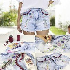 Aprenda a fazer um shorts boho através da customização. Seu shorts jeans básico vai ficar lindo com essa estampa e esses pompons!