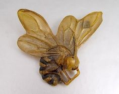 Vintage Carved horn bumble bee brooch by George Pierre, Paris - c, 1900