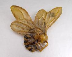 Vintage Carved horn bumble bee brooch by George Pierre, Paris - c, 1900