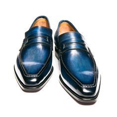 Leather Loafers Shoes Slip-On Dress Shoes Blue Loafers, Dress Loafers, Penny Loafers, Blue Shoes, Suit Shoes, Slip On Dress Shoes, Men's Shoes, Shoes Men, Leather Loafer Shoes