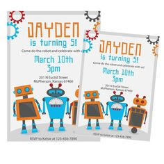 Robot birthday party invitations!
