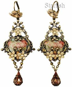 Michal Negrin Victorian Style Roses Cameos Crystal Earrings | eBay
