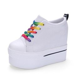 586fe7764afb Wedges Canvas Shoes Women Platform Vulcanized Hidden Heel Height Increasing  Casual Shoes. Lace Up HeelsFemaleHeeled ...