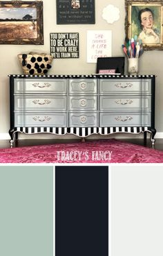 "Cloudy Blue-Gray Savannah Mist   my signature ""grounding neutrals"" Caviar   Fluff on this chalk dresser makeover! #dixiebelle See the entire #paintedfurniture makeover on traceysfancy.com  