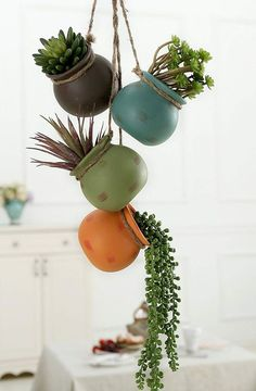 33 Ideas Hanging Succulent Display – Container Gardening How to Make a Succulent Terrarium (With Pic Succulent Display, Succulent Centerpieces, Hanging Succulents, Succulents In Containers, Hanging Plants, Succulents Garden, Indoor Succulents, Hanging Gardens, Plants Indoor
