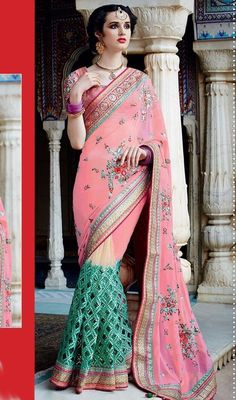 Astound your admirers in this pink and green color net georgette embroidered designer sari. This really is uniquely crafted with lace, resham, stones and unique border work. #amazingcutworksari #eveningsarees #eveningwearsaris