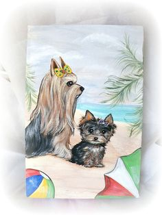 Yorkie Beach Original Gallery Wrapped Canvas by SugarspiceArt, $99.99