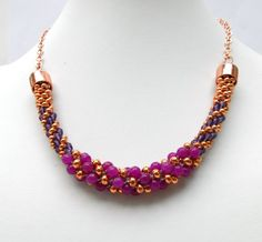 Beautiful copper beaded kumihimo free instructions by Pru McRae