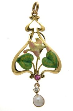 Art Nouveau 14k gold and enamel floral pendant set with a ruby, diamond, and natural pearl.