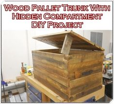 """Wood Pallet Trunk With Hidden Compartment DIY Project Homesteading  - The Homestead Survival .Com     """"Please Share This Pin"""""""