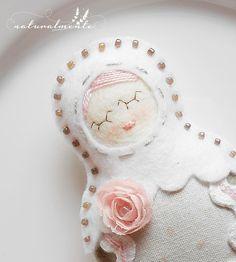 Babushka roseo - bambola unica home decor - appendere decorazioni