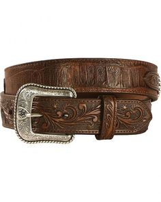 Ariat Men's Floral Embossed Overlay Large Concho Belt
