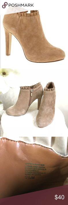 """Banana Republic suede heeled booties Worn once Banana Republic suede booties with pleated trim detail on top. Suede leather upper, has 2 little light marks on the left side one ( but it's unnoticeable) . Heel height: 4"""". Over all in excellent condition. Banana Republic Shoes Ankle Boots & Booties"""