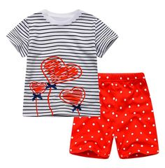 Babytree Love Flowers Girls' 2 Pieces Cotton Clothing Short Sets. Product Name: Boys Short Sleeve Set. Main material: cotton. Product Origin: China. Number of products: 2 pieces (1 T-shirt + 1 shorts). Product features: cotton fabric to make it soft and comfortable,cartoon patterns vivid and interesting, the children will like it.