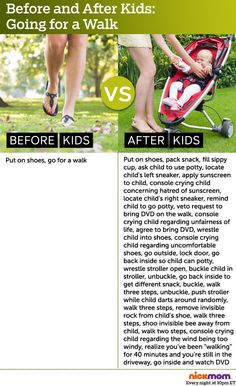 Before and After Kids: Going for a Walk -  more funny parenting stuff from @RobynHTV on @NickMom