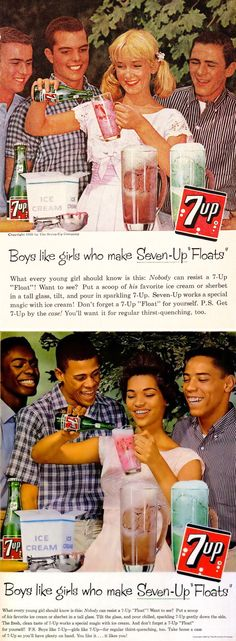 7-up ads from the 1960s. The same sexist idea targeted at different markets.