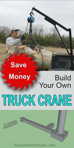 Homemade DIY Truck Crane (Save Money, Save Your Back) Homemade truck crane. This DIY pickup crane can can lift heavy loads, removes easily, folds for storage, and requires no modification to your truck. Lifted Trucks, Pickup Trucks, Lifted Chevy, Laura Lee, Truck Hitch, Crane Lift, Truck Tools, Tacoma Truck, Trailer Plans